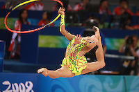 August 23, 2008; Beijing, China; Rhythmic gymnast Aliya Yussupova of Kazakhstan split leaps with hoop on way to placing 5th in the All-Around final at 2008 Beijing Olympics..(©) Copyright 2008 Tom Theobald