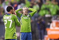 Seattle Sounders FC midfielder Erik Friberg and forward Lamar Neagle react to a miss during play against Real Salt Lake in a Major League Soccer Wester Conference Semifinal match at CenturyLink Field in Seattle Wednesday November 2, 2011. The Sounders won the match 2-0, but lost the series.
