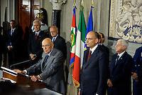 Roma, 27 Aprile 2013.Il Presidente della Repubblica Giorgio Napolitano con il Presidente del Consiglio Enrico Letta  dopo la lettura dei  nuovi ministri al Quirinale