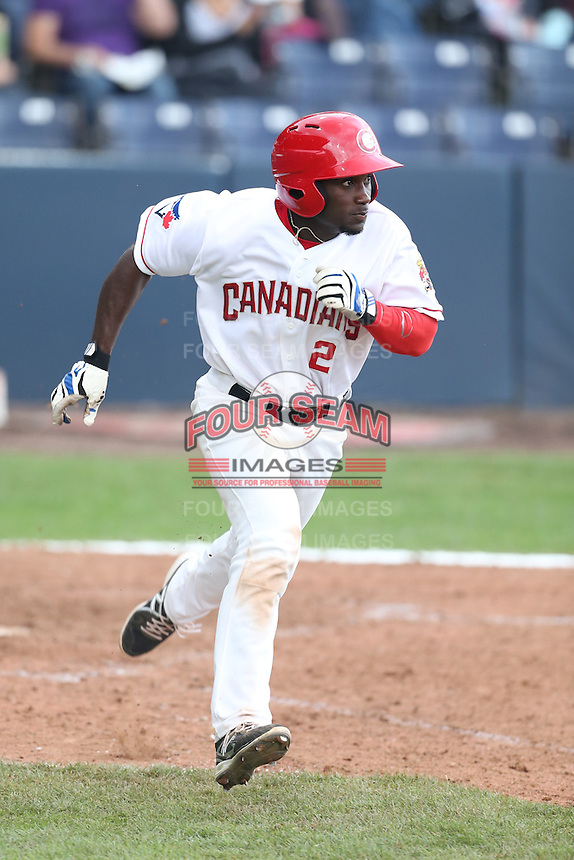 Roemon Fields #2 of the Vancouver Canadians runs the bases during a game against the Hillsboro Hops at Nat Bailey Stadium on July 24, 2014 in Vancouver, British Columbia. Hillsboro defeated Vancouver, 7-3. (Larry Goren/Four Seam Images)