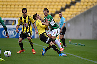 Alex Rodriguez and Joel Griffiths in action during the A League - Wellington Phoenix v Newcastle Jets Game at Westpac Stadium, Wellington, New Zealand on Sunday 26 October 2014. <br /> Photo by Masanori Udagawa. <br /> www.photowellington.photoshelter.com.