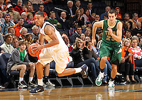 Nov. 12, 2010; Charlottesville, VA, USA;  Virginia Cavaliers guard Mustapha Farrakhan (2) steals the ball from William & Mary Tribe forward Kyle Gaillard (23) during the game at the John Paul Jones Arena. Virginia won 76-52.  Mandatory Credit: Andrew Shurtleff