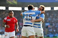 Nicolas Sanchez of Argentina celebrates his second half try. Rugby World Cup Pool C match between Argentina and Tonga on October 4, 2015 at Leicester City Stadium in Leicester, England. Photo by: Patrick Khachfe / Onside Images