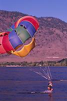 Parasailing at Osoyoos Lake, Osoyoos, BC, South Okanagan Valley, British Columbia, Canada, Summer