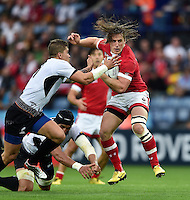 Jeff Hassler of Canada in possession. Rugby World Cup Pool D match between Canada and Romania on October 6, 2015 at Leicester City Stadium in Leicester, England. Photo by: Patrick Khachfe / Onside Images
