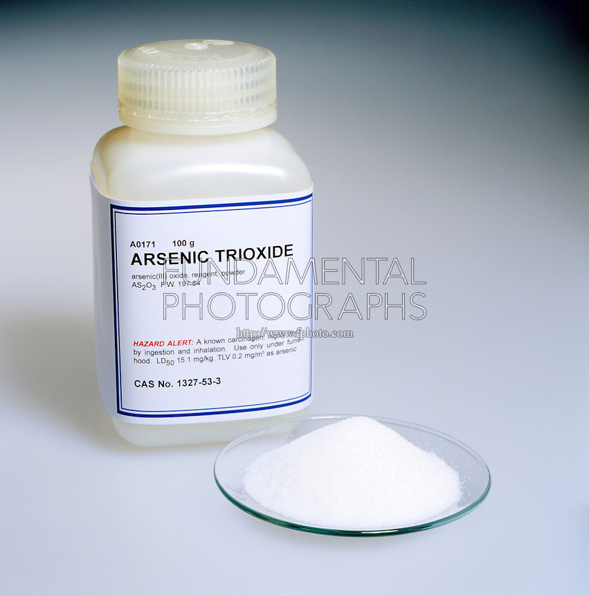 ARSENIC TRIOXIDE<br /> Lab Bottle &amp; Watchglass of Powder<br /> As2O3 , Arsenic (III) Oxide, Reagent &amp; Powder. The compound is a highly toxic, known carcinogen which, as the drug Trisenox, was FDA approved in 2000 for treatment of acute promyelocytic leukemia.