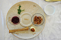 NWA Democrat-Gazette/MICHAEL WOODS &bull; @NWAMICHAELW<br /> The ceremonial seder plate used during the community Passover Seder at Temple Shalom of Northwest Arkansas on Saturday, April 23, 2016, includes the special foods that help tell the story of Passover.  The items include bitter herbs (horseradish), charoset (an apple and nut mixture), karpas, (a vegetable to be dipped into saltwater), a roasted shank bone and a roasted hardboiled egg.