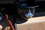 12 July 2007:  A Lake Monsters Batting Helmet lies ready prior to a game between the Vermont Lake Monsters and the Mahoning Valley Scrappers at Historic Centennial Field in Burlington, Vermont. The Scrappers defeated the Lake Monsters 11-2 in the first game of their NY Penn-League double-header...Mandatory Photo Credit: Ed Wolfstein Photo