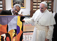 Pope Francis meets with Cape Verde Prime Minister Jose Maria Neves during a private audience at the Vatican on April 3, 2014.