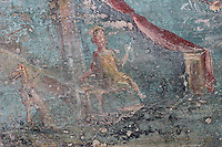 Fresco of a woman, possibly spinning, and a pet dog, in the fountain room in the viridarium or garden of the Casa dell Efebo, or House of the Ephebus, Pompeii, Italy. This is a large, sumptuously decorated house probably owned by a rich family, and named after the statue of the Ephebus found here. The fresco is painted in the Fourth Style of Roman wall painting, c. 60–79 AD, a complex and Baroque style. Pompeii is a Roman town which was destroyed and buried under 4-6 m of volcanic ash in the eruption of Mount Vesuvius in 79 AD. Buildings and artefacts were preserved in the ash and have been excavated and restored. Pompeii is listed as a UNESCO World Heritage Site. Picture by Manuel Cohen