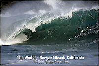 20 June 2006:  Single set wave rolls a shore during a South swell reaches the famous surf spot in Newport Beach, CA called The Wedge.  Surfers, boogie boarders, body surfers and crowds gather to watch the powerful waves and the waters take shape into unique sets along the jetty in Orange County, California.  Text added. Small poster size.