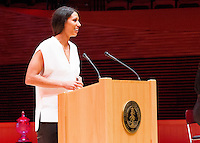 STANFORD, CA - OCTOBER 16, 2015—Nicole Powell, a inductee gives a speech at the 2015 Stanford Athletics Hall of Fame Induction Ceremony at the Bing Concert Hall .