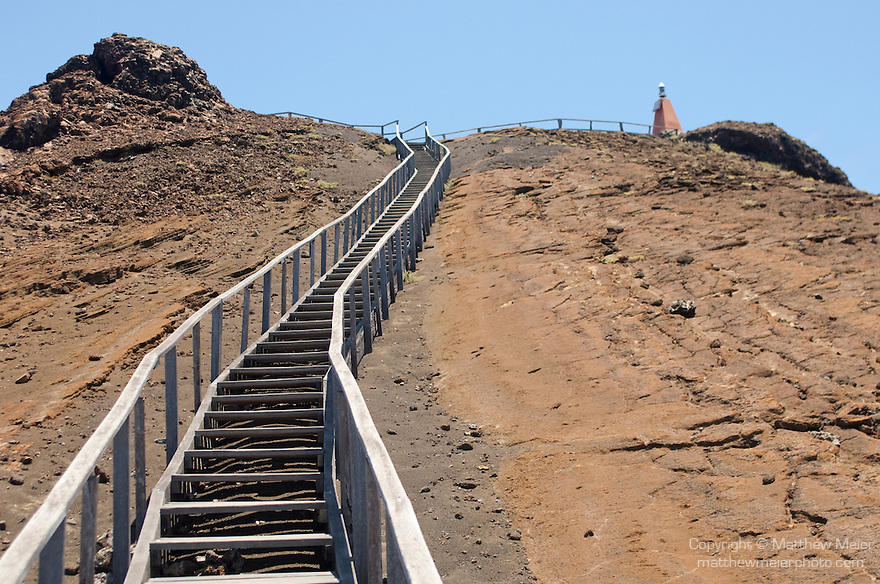 Bartolome Island, Galapagos, Ecuador; looking up the stairs leading to the summit of Bartolome Island , Copyright © Matthew Meier, matthewmeierphoto.com All Rights Reserved