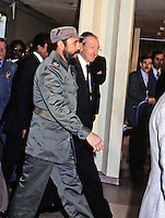 President Fidel Castro of Cuba, left, is escorted by United Nations Secretary-General Kurt Waldheim, right, during his visit to address the UN General Assembly in New York, New York on October 15, 1979.  Castro's speech discussed the disparity between the world&rsquo;s rich and the world's poor.<br /> Credit: Arnie Sachs / CNP /MediaPunch
