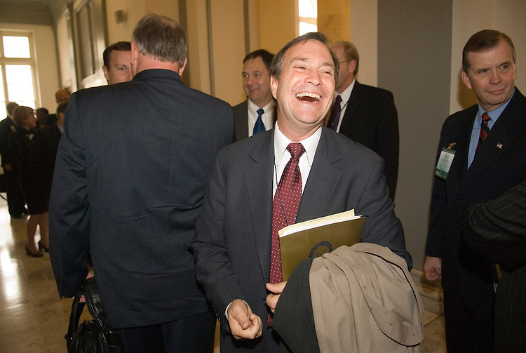 Rep.-elect Ed Perlmutter, D-Colo., arrives in the Cannon House Office Building for freshman member orientation in Congress in Washington on Monday morning, Nov. 13, 2006.