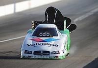 Mar. 31, 2012; Las Vegas, NV, USA: NHRA funny car driver Jack Beckman during qualifying for the Summitracing.com Nationals at The Strip in Las Vegas. Mandatory Credit: Mark J. Rebilas-