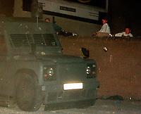 The Falls, Belfast, Northern Ireland: Catholic children ambush a police vehicle.