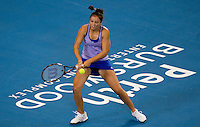 Laura Robson (GBR) against ELena Dementieva (RUS) in the Group B match bewteen Great Britain and Russia. Elena Dementieva (RUS) beat Laura Robson (GBR) 6-4 6-0..International Tennis - Hyundai Hopman Cup XXII - Fri 08 Jan 2010 - Burswood Dome - Perth - Australia ..© Frey - AMN Images, 1st Floor Barry House, 20-22 Worple Road, London, SW19 4DH
