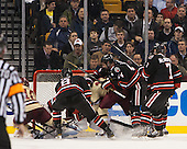 Danny Linell (BC - 10), Adam Reid (NU - 8), Johnny Gaudreau (BC - 13), Dax Lauwers (NU - 44), Mike McMurtry (NU - 7) - The Boston College Eagles defeated the Northeastern University Huskies 6-3 on Monday, February 11, 2013, at TD Garden in Boston, Massachusetts.