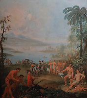 Europeans landing in America, oil painting, early 18th century, in the Musee d'Aquitaine, Cours Pasteur, Bordeaux, Aquitaine, France. This scene takes place in the Southern USA or the Antilles,<br /> with the captain holding a white flag and accepting a peace pipe from the Indian chief, while his men offer a barrel and tools. Picture by Manuel Cohen