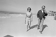 02 Jan 1972, Florida, USA --- Willy Brandt and his wife, Rut, on holiday in Florida on the beach of the Far Horizon Hotel near Boca Grande. After his talks with President Richard Nixon at Key Biscaye, Brandt rejoined his family in the Gulf of Mexico at the invitation of the American president. Brandt was awarded the Nobel Peace Prize in 1971 for his work in improving relations with the German Democratic Republic, Poland and the Soviet Union. | Location: Longboat Key, Florida, USA. --- Image by © JP Laffont