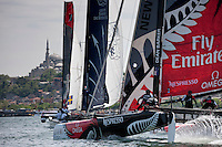 Extreme Sailing Series 2011. Act 3.Turkey . Istanbul..Emirates New Zealand skippered by Dean Barker with teammates Glenn Ashby,James Dagg and Richard Meacham.