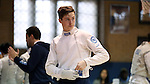 11 February 2017: UNC's Jacob Henkels prepares for Epee. The Duke University Blue Devils hosted the University of North Carolina Tar Heels at Card Gym in Durham, North Carolina in a 2017 College Men's Fencing match. Duke won the dual match 19-8 overall, 6-3 Foil, 6-3 Epee, and 7-2 Saber.