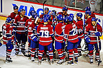 4 December 2008: Members of the Montreal Canadiens celebrate their win over the New York Rangers during their first meeting of the season at the Bell Centre in Montreal, Quebec, Canada. The Canadiens, celebrating their 100th season, played in the circa 1915-1916 uniforms for the evenings' Original Six matchup. The Canadiens defeated the Rangers 6-2. *****Editorial Use Only*****..Mandatory Photo Credit: Ed Wolfstein Photo