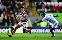Telusa Veainu of Leicester Tigers goes on the attack. European Rugby Champions Cup match, between Leicester Tigers and Racing 92 on October 23, 2016 at Welford Road in Leicester, England. Photo by: Patrick Khachfe / JMP