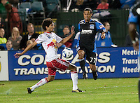 Geovanni (right) battles against Mehdi Ballouchy (left). The New York Red Bulls defeated the San Jose Earthquakes 1-0 at Buck Shaw Stadium in Santa Clara, California on October 30th, 2010.