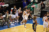10 March 2008: Stanford Cardinal Candice Wiggins (11), Jeanette Pohlen, head coach Tara VanDerveer, Cissy Pierce, Hannah Donaghe, Melanie Murphy, and Michelle Harrison during Stanford's 56-35 win against the California Golden Bears in the 2008 State Farm Pac-10 Women's Basketball championship game at HP Pavilion in San Jose, CA.
