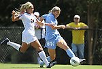 11 September 2011: North Carolina's Courtney Jones (84) and Texas A&M's Rachael Balaguer (24). The Texas A&M Aggies defeated the University of North Carolina Tar Heels 4-3 in overtime at Koskinen Stadium in Durham, North Carolina in an NCAA Division I Women's Soccer game.