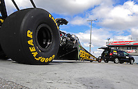 Jan. 17, 2012; Jupiter, FL, USA: NHRA top fuel dragster driver Morgan Lucas during testing at the PRO Winter Warmup at Palm Beach International Raceway. Mandatory Credit: Mark J. Rebilas-