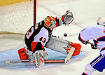 15 November 2008:  Philadelphia Flyers' goaltender Martin Biron makes a save in the first period against the Montreal Canadiens during their first meeting in Montreal since the Flyers knocked the Canadiens out of the playoffs last season. The Canadiens, celebrating their 100th season, fell to the visiting Flyers 2-1 at the Bell Centre in Montreal, Quebec, Canada. ***Editorial Sales Only***..Mandatory Photo Credit: Ed Wolfstein Photo *** Editorial Sales through Icon Sports Media *** www.iconsportsmedia.com