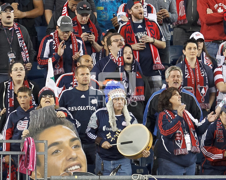 New England Revolution fans with Diego in their midst. In a Major League Soccer (MLS) match, Montreal Impact (white/blue) defeated the New England Revolution (dark blue), 4-2, at Gillette Stadium on September 8, 2013.