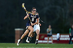 23 February 2017: Notre Dame's Savannah Buchanan (8) and Elon's Anna Vitton (behind). The Elon University Phoenix hosted the University of Notre Dame Fighting Irish at Rudd Field in Elon, North Carolina in a 2017 Division I College Women's Lacrosse match. Notre Dame won the game 16-7.