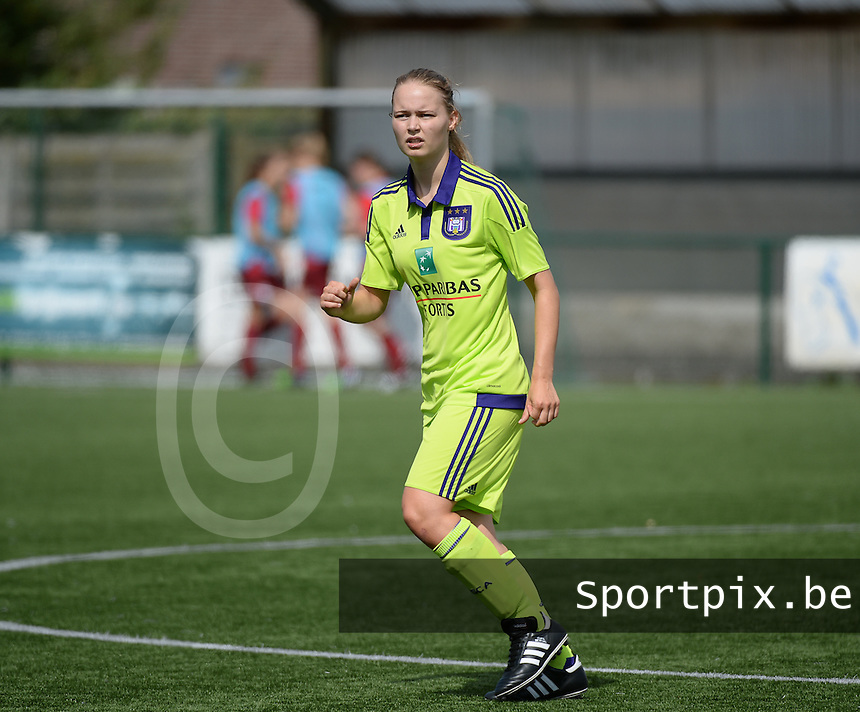 20150808 - ZULTE , BELGIUM : Anderlecht's Tiana Andries pictured during a friendly soccer match between the women teams of Zulte-Waregem and RSC Anderlecht  , during the preparations for the 2015-2016 SUPERLEAGUE season, Saturday 8 August 2015 . PHOTO DAVID CATRY