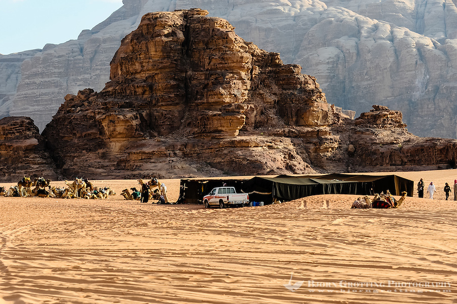 Jordan. Wadi Rum is also known as The Valley of the Moon. Bedouin camp and dromedary.