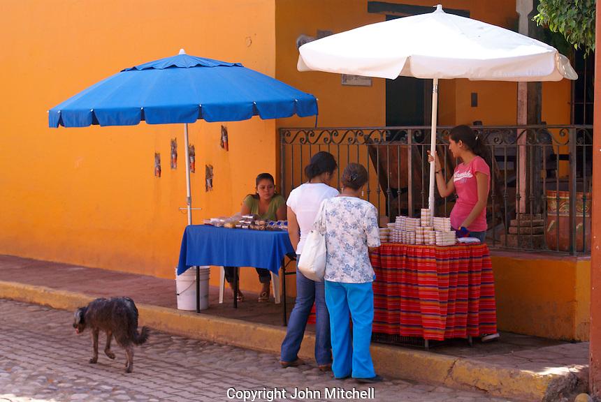 Street vendors in the town of El Quelite near  Mazatlan, Sinaloa, Mexico