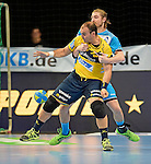 GER - Mannheim, Germany, September 23: During the DKB Handball Bundesliga match between Rhein-Neckar Loewen (yellow) and TVB 1898 Stuttgart (white) on September 23, 2015 at SAP Arena in Mannheim, Germany.  Rafael Baena Gonzalez #16 of Rhein-Neckar Loewen, Tobias Schimmelbauer #2 of TVB 1898 Stuttgart<br /> <br /> Foto &copy; PIX-Sportfotos *** Foto ist honorarpflichtig! *** Auf Anfrage in hoeherer Qualitaet/Aufloesung. Belegexemplar erbeten. Veroeffentlichung ausschliesslich fuer journalistisch-publizistische Zwecke. For editorial use only.