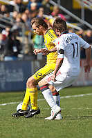 27 MARCH 2010:  Eddie Gaven of the Columbus Crew (12) and Jim Brennan of Toronto FC (11) during the Toronto FC at Columbus Crew MLS game in Columbus, Ohio on March 27, 2010.