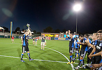 Bobby Burling brings the Sacramento Cup back to his players. The San Jose Earthquakes defeated Chivas USA 6-5 in shootout after drawing 0-0 in regulation time to win the inagural Sacramento Cup at Raley Field in Sacramento, California on June 12, 2010.