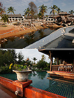 Khao Lak, north of Phuket, Thailand, was severley hit by the Tsunami that struck Asia 26.12.2004. Thousands died when the waves hit without warning. Resorts all along the coast has been rebuilt such the Takolaburi and Palm Galleria (background)..&copy;Fredrik Naumann/Felix Features