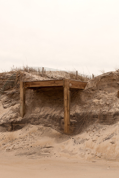 February 25, 2013. Rodanthe, North Carolina. Eroded shoreline along the Outer Banks.. Tracing the path of Hurricane Sandy, which wrecked havoc on the northeastern seaboard from October 25-31, 2012. The storm caused flooding and caused an estimated 60 billion dollars worth of damage to affected areas.