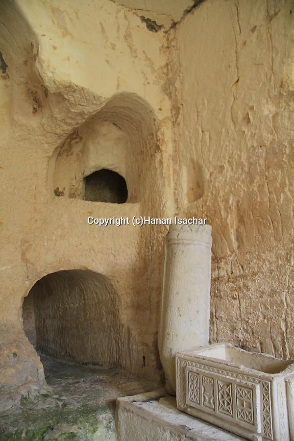 Israel, Jerusalem, ancient burial caves at the Greek Orthodox St. Onuphrius Monastery