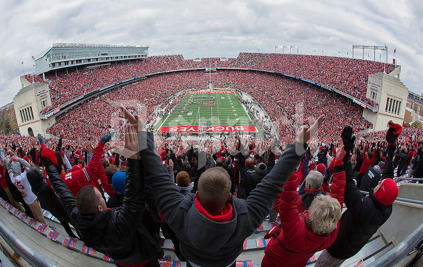 Ohio State Buckeyes fans cheer as the band performs Script Ohio prior to the NCAA football game against the Michigan Wolverines at Ohio Stadium in Columbus on Nov. 26, 2016. (Adam Cairns / The Columbus Dispatch)