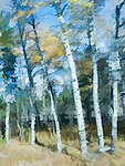 A painterly effect has been added to this image of aspen trees in SW Montana, close to Yellowstone.