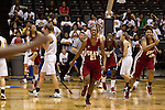 23 MAR 2012:   Kyria Buford (21) of Shaw University celebrates as time runs out against  Ashland University during the Division II Womens Basketball Championship held at Bill Greehey Arena in San Antonio, TX.  Shaw University defeated Ashland University  88-82 for the national title.  Rodolfo Gonzalez/ NCAA Photos