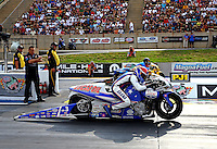 Jul. 19, 2013; Morrison, CO, USA: NHRA pro stock motorcycle rider Hector Arana Jr during qualifying for the Mile High Nationals at Bandimere Speedway. Mandatory Credit: Mark J. Rebilas-