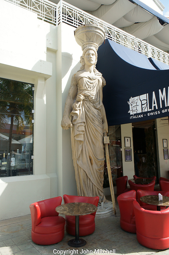Greek statue outside a restaurant at La Isla Shopping Village mall in the Zona Hotelera, Cancun, Quintana Roo, Mexico.